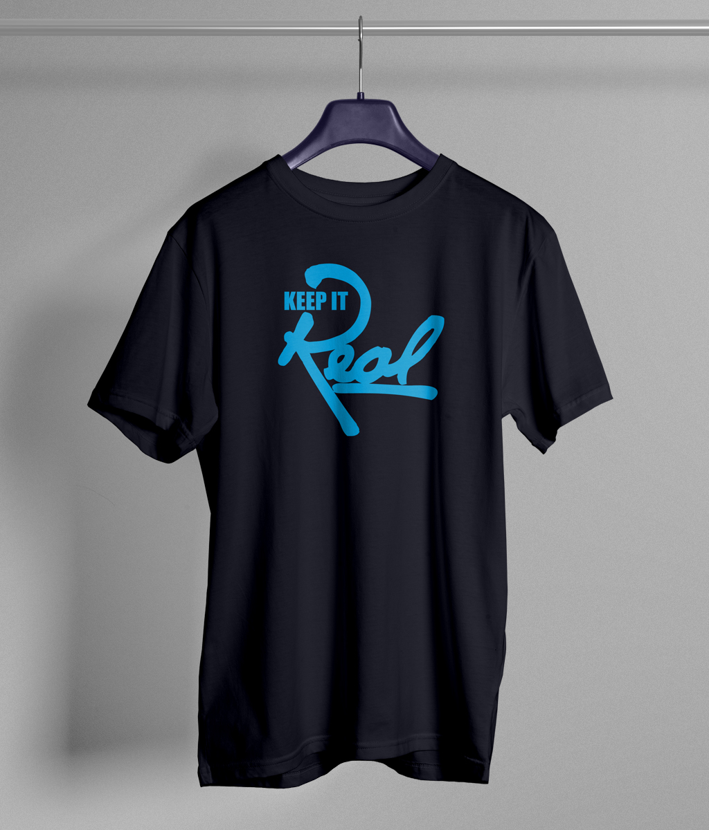 Insignia t shirt navy blue light blue keep it real for Navy blue shirt online